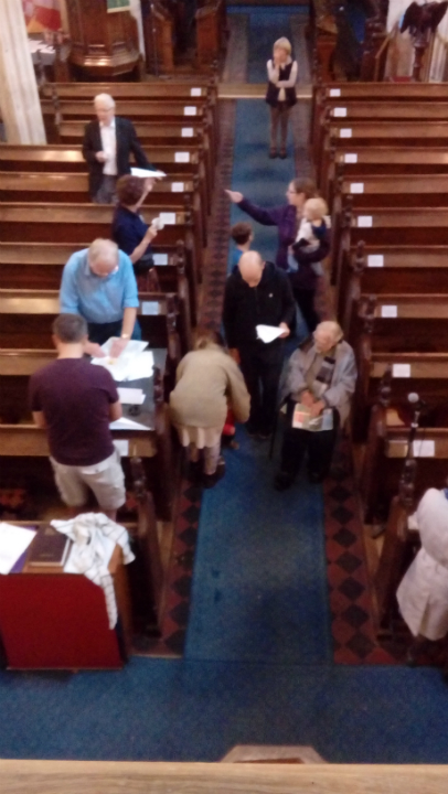 Frantic paper aeroplane making in Sproughton church!