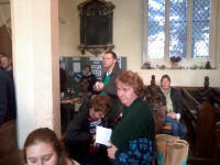 Everyone gathered post-ringing in St Margaret's church for mince pies, biscuits, tea & coffee.