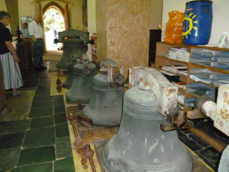 The bells of St Margaret's Ipswich on the church floor.