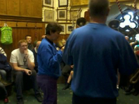 Handbell demonstration in St Mary-le-Tower at Tower Open Day.