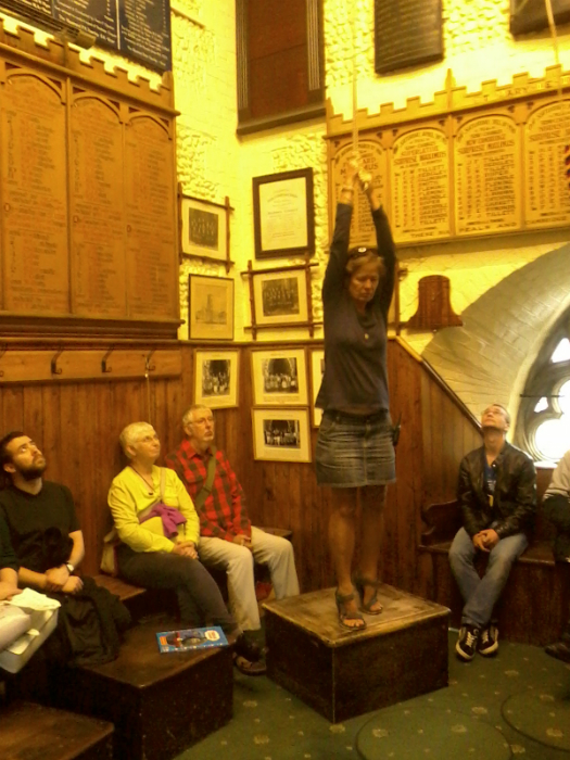 Amanda Richmond turns the tenor over for the watching visitors at the St Mary-le-Tower Open Day.