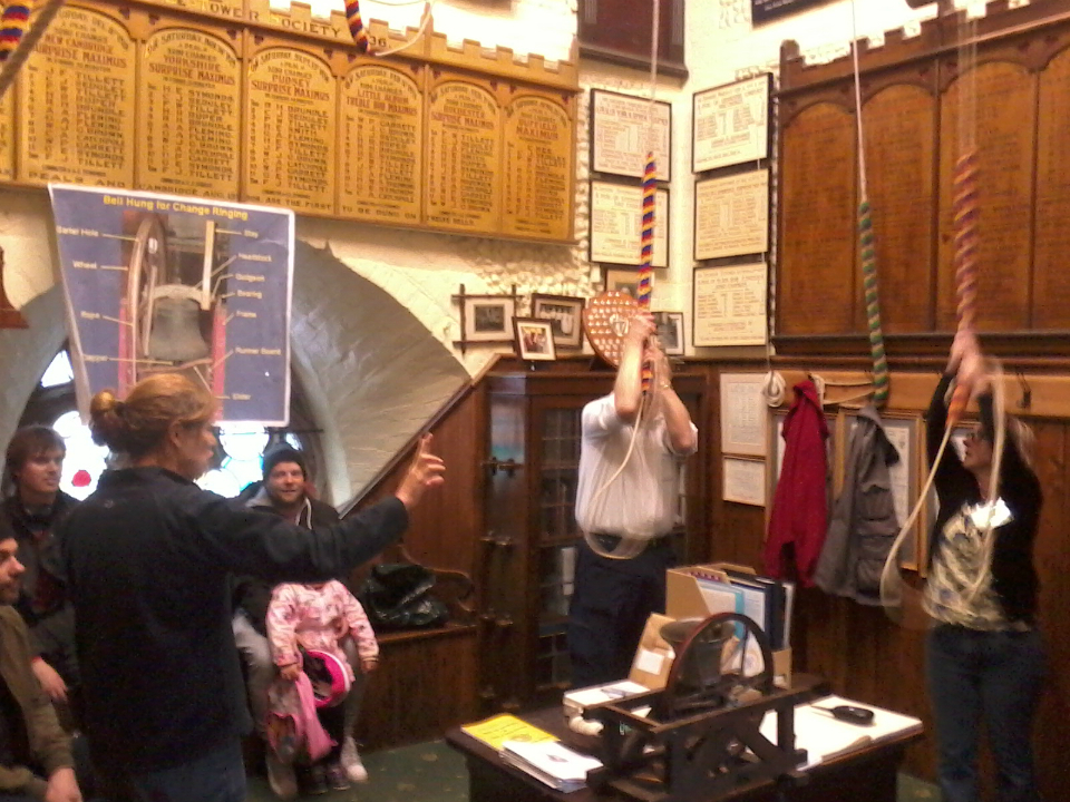 Amanda Richmond explains ringing to the visitors at St Mary-le-Tower's Tower Open Day.