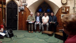St Mary-le-Tower AGM – l-to-r; Stephen Cheek, Owen Claxton, David Potts & Reverend Canon Charles Jenkin.