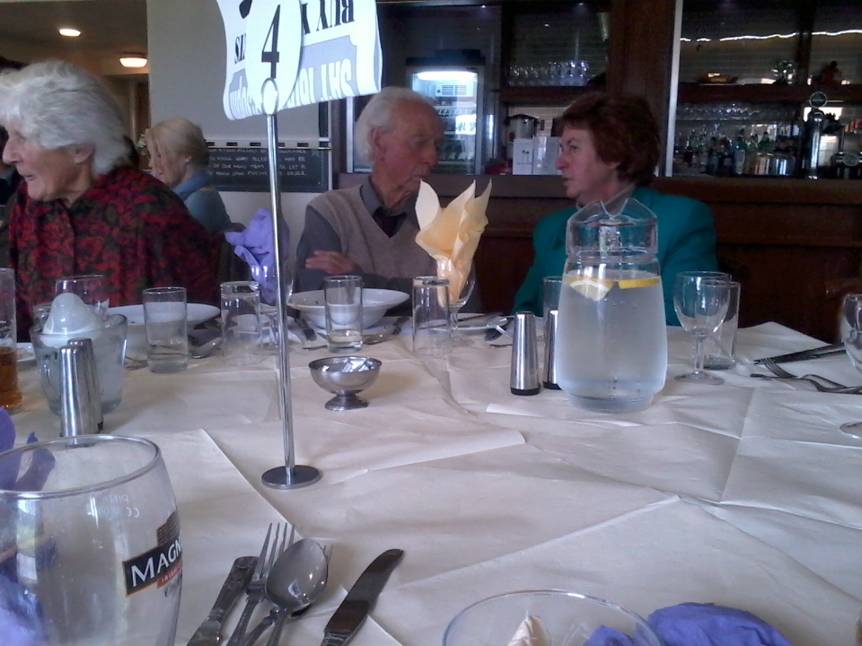 Don Price and my mother Sally chatting at the St Mary-le-Tower Dinner.