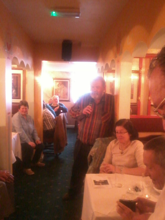 Stephen Pettman speaks at his celebratory curry at Bombay Nite.
