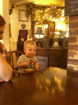 Alfie enjoying lunch at The George Inn at Leeds.