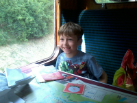 Mason enjoying the train back to Keighley.