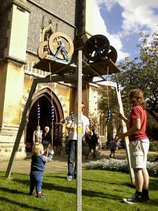 Alfie ringing with George & Colin Salter on The Vestey Ring outside St Mary-le-Tower.