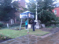 The Vestey Ring outside in the rain, with Ralph & Ellie Earey manning it with Mason's help.
