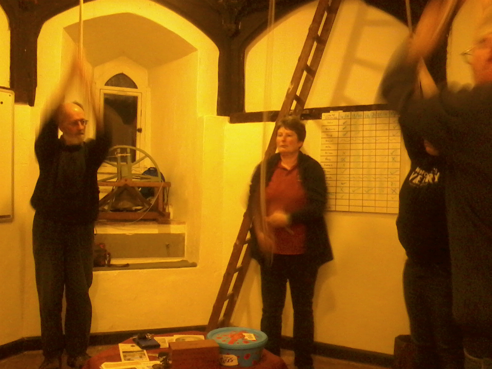 Ringing at Wickham Market - 2nd, Mary Garner, 3rd Chris Garner, 4th Kate Eagle, 5th Ruth Munnings & Tenor Ray Lewis.
