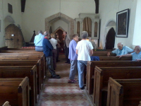 Members gathered in Winston church during ringing at the South-East District Quarterly Meeting.