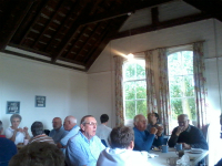 Having tea in Winston Village Hall at the South-East District Quarterly Meeting.