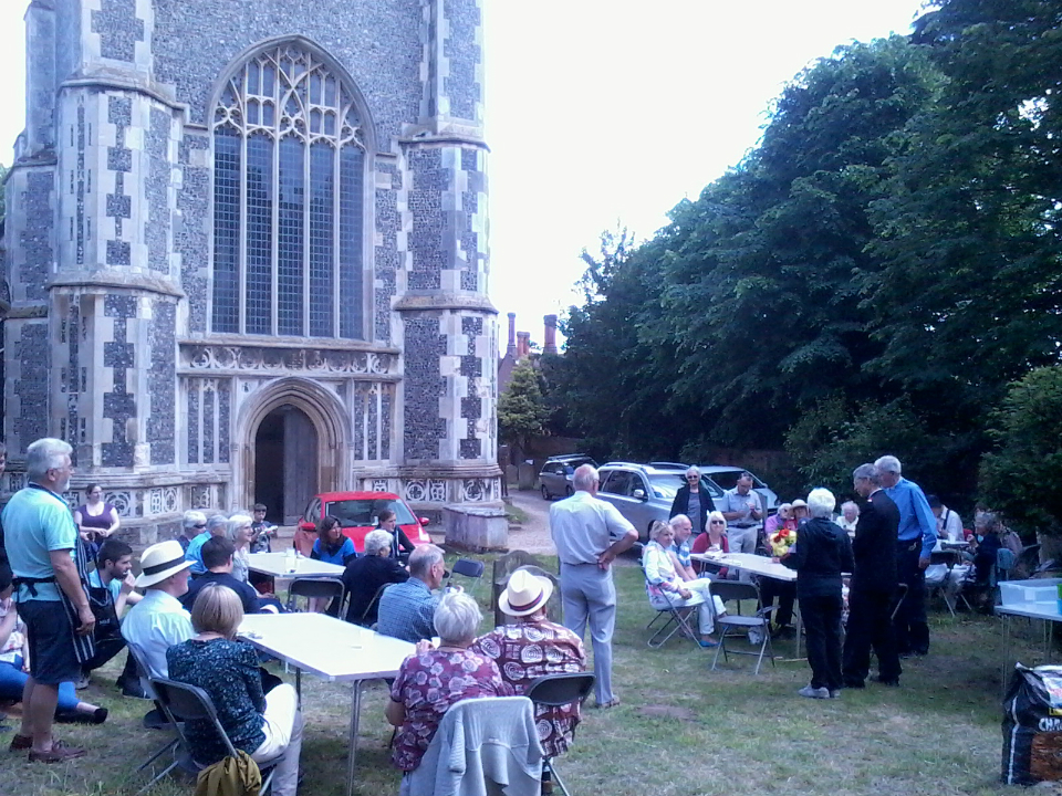 BBQ in churchyard of St Mary-the-Virgin in Woodbridge.