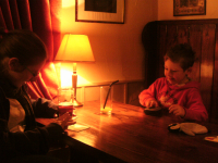 Ruthie and Mason playing games in the pub!