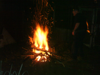 Ron getting the bonfire going.