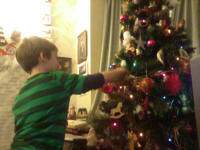 Mason plucking presents from his Nanna and Granddad's Christmas tree.