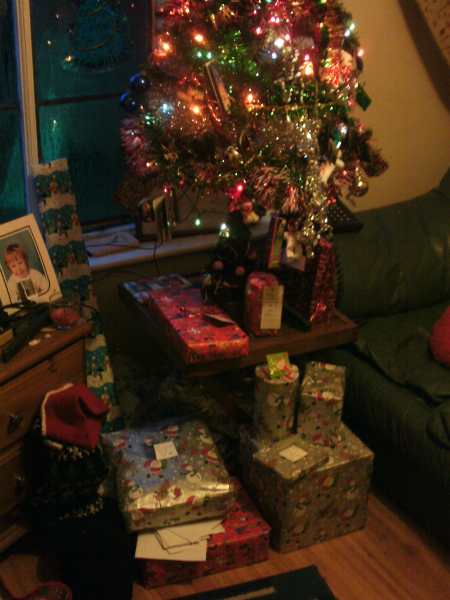 Presents under the tree on Christmas morning!