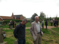Mike Whitby & George Pipe listening to the ringing at Blythburgh.