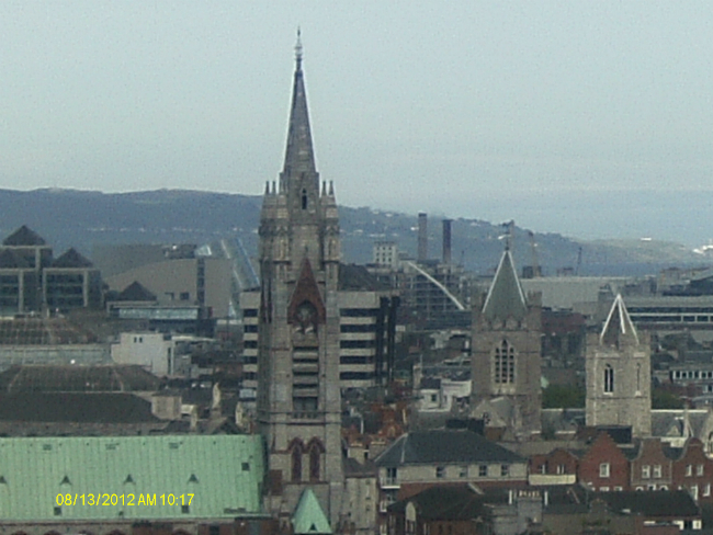 Towers of John's Lane (10 bells) on the Left and Christ Church Cathedral (16 bells) in the Middle From The Gravity Bar.