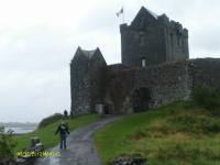 Ruthie outside a very wet Dungaire Castle.