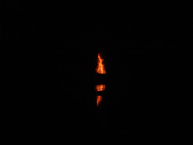Jubilee Beacon lit on the banks of the River Deben.