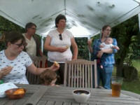 Clare, Mary Garner, Katelynn, Kate & Ruthie with Alfie at Brian & Peta Whiting's BBQ.
