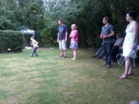 Mason, Ralph & Tessa Earey, Will Goodchild and Maggie Ross playing boules.