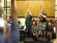 The North-East District ringing at St Mary-le-Tower on their Walking Tour of Ipswich.