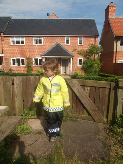 Mason in his policeman's outfit.