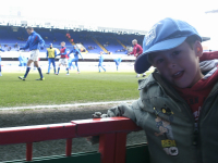 Mason before kick-off of his first proper Ipswich Town match.