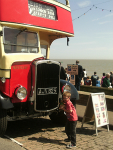 Mason taking in all the old buses on Felixstowe seafront!