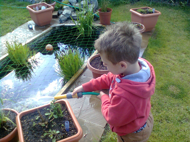 Mason watering the garden at Kate's.