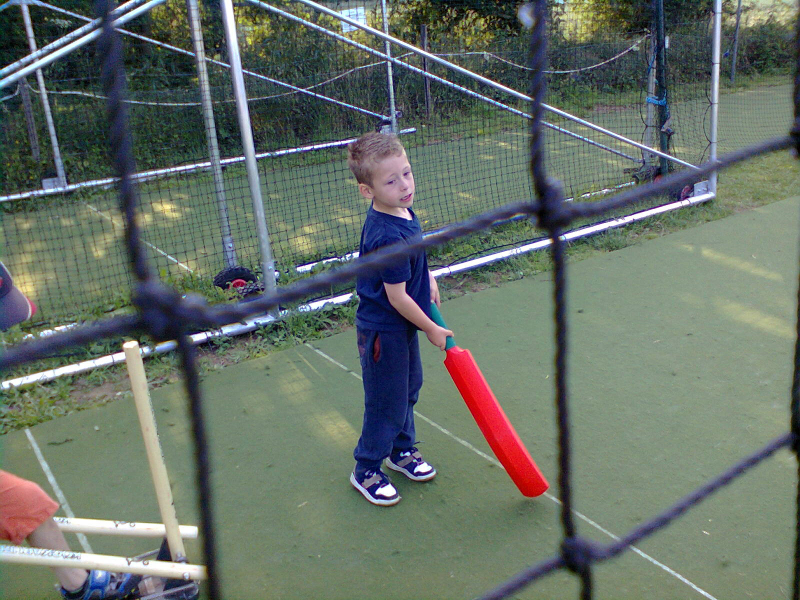 Mason practicing in the nets.