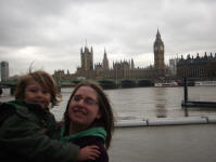 Mason & Ruthie outside the Houses of Parliament and Westminster Abbey.