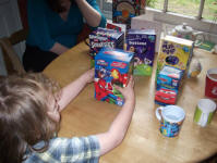 Mason selecting Easter eggs.