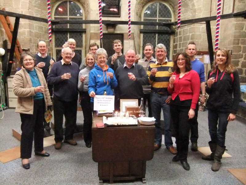 The Norman Tower ringers celebrate 100 years to the day since the birth of the diocese of St Edmundsbury and Ipswich on 21st January 1914.