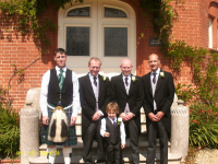 Kev (Usher), Me, Chris (Best Man) & Toby (Usher) with Mason (Page Boy) in front.