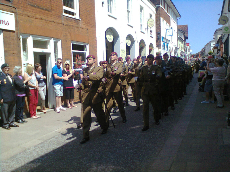 23rd Engineer Regiment (Air Assault) march down The Thoroughfare in Woodbridge.